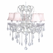 5-Arm Carousel White Chandelier with Pink Shades