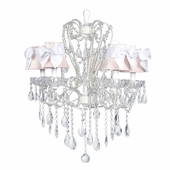 5-Arm Carousel White Chandelier with Pink with White Bow Shades