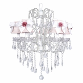 5-Arm Carousel White Chandelier with Pink with White Bow Shades and Small Pink Rose Magnets