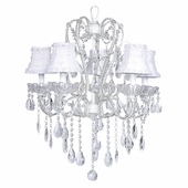 5-Arm Carousel White Chandelier with White Petal Flower Shades