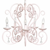 5-Arm Carriage Pink Chandelier