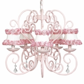 5-Arm Carriage Pink Chandelier with Ring of Roses on White Shades