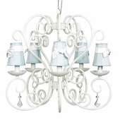 5-Arm Carriage White Chandelier with Blue with White Sash Shades