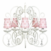 5-Arm Carriage White Chandelier with Pink Petal Flower Shades