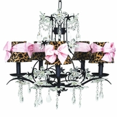 5-Arm Cinderella Black Chandelier with Leopard with Pink Sash Bow Shades