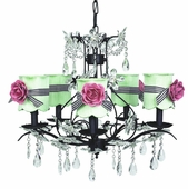 5-Arm Cinderella Black Chandelier with Modern Green with Black Check Sash Scallop Drum Shades and Bright Pink Rose Magnets