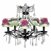 5-Arm Cinderella Black Chandelier with Modern Green with Black Check Sash Shades and Bright Pink Rose Magnets