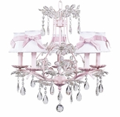 5-Arm Cinderella Pink Chandelier with White with Pink Sash Shades