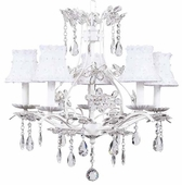 5-Arm Cinderella White Chandelier with White Petal Flower Shades