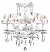 5-Arm Cinderella White Chandelier with White with Pink Net Flower Shades