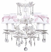 5-Arm Cinderella White Chandelier with White with Pink Sash Shades