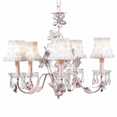 5-Arm Crystal Flower Pink Chandelier with White Petal Flower Shades
