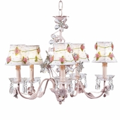 5-Arm Crystal Flower Pink Chandelier with White with Pink Net Flower Shades