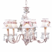 5-Arm Crystal Flower Pink Chandelier with White with Pink Sash Shades