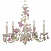 5-Arm Crystal Flower Soft Green & Pink Chandelier