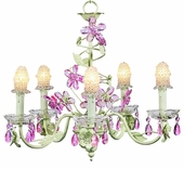 5-Arm Crystal Flower Soft Green & Pink Chandelier with Clear Bulb Covers