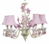5-Arm Crystal Flower Soft Green & Pink Chandelier with Pink Glass Bead Shades
