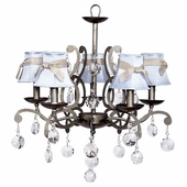 5-Arm Elegance Antique Grey Chandelier with Blue with Champagne Sash Shades