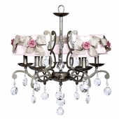 5-Arm Elegance Antique Grey Chandelier with Pink with Champagne Sash Shades and Bright Pink Rose Magnets