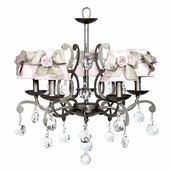 5-Arm Elegance Antique Grey Chandelier with Pink with Champagne Sash Shades and Light Pink Rose Magnets