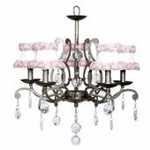 5-Arm Elegance Antique Grey Chandelier with Ring of Roses on White Shades