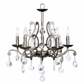 5-Arm Elegance Pewter Chandelier with Custom Crystals