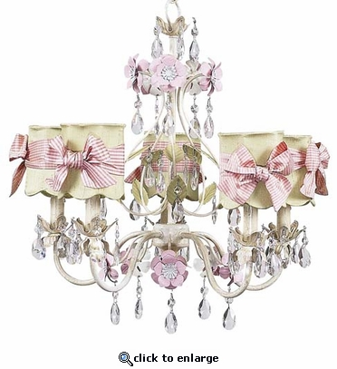 5-Arm Flower Garden Ivory, Sage & Pink Chandelier with Green with Pink Check Sash Bow Scallop Drum Shades