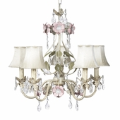 5-Arm Flower Garden Ivory, Sage & Pink Chandelier with Ivory Shades