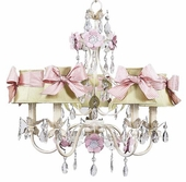5-Arm Flower Garden Ivory, Sage & Pink Chandelier with Ivory with Pink Check Sash Bow Shades