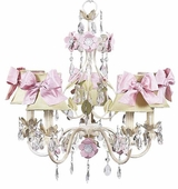 5-Arm Flower Garden Ivory, Sage & Pink Chandelier with Ivory with Pink Sash Bow Shades