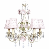 5-Arm Flower Garden Ivory, Sage & Pink Chandelier with Pink Pearl Dot Shades