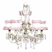 5-Arm Flower Garden Ivory, Sage & Pink Chandelier with Ring of Roses on White Shades