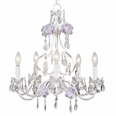 5-Arm Flower Garden Lavender & White Chandelier