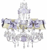 5-Arm Flower Garden Lavender & White Chandelier with Green Shades