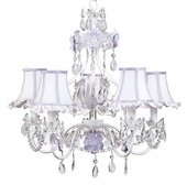 5-Arm Flower Garden Lavender & White Chandelier with Lavender/White Ruffled Edge Shades