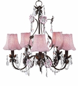 5-Arm Flower Garden Mocha & Pink Chandelier Pink Glass Bead Shades