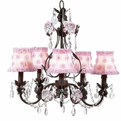 5-Arm Flower Garden Mocha & Pink Chandelier with Pink Petal Flower Shades