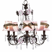 5-Arm Flower Garden Mocha & Pink Chandelier with Pink with Brown Sash Shades