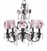 5-Arm Flower Garden Mocha & Pink Chandelier with Pink with Pink Sash Shades