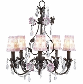5-Arm Flower Garden Mocha & Pink Chandelier with White/Pink Petal Flower Shades
