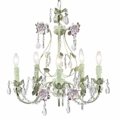 5-Arm Flower Garden Pink & Green Chandelier