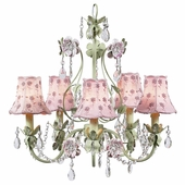 5-Arm Flower Garden Pink & Green Chandelier with Pink Daisy Pearl Shades