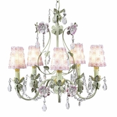 5-Arm Flower Garden Pink & Green Chandelier with White/Pink Petal Flower Shades