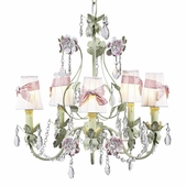 5-Arm Flower Garden Pink & Green Chandelier with White with Pink Sash Shades