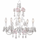 5-Arm Flower Garden Pink & White Chandelier