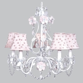5-Arm Flower Garden Pink & White Chandelier with Pink Pearl Dot Shades