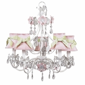 5-Arm Flower Garden Pink & White Chandelier with Pink with Modern Green Sash Shades