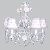 5-Arm Flower Garden Pink & White Chandelier with White/Pink Petal Flower Shades