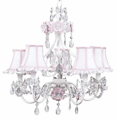 5-Arm Flower Garden Pink & White Chandelier with White/Pink Ruffled Edge Shades