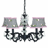 5-Arm Glass Turret Black Chandelier with Black Check with Pink Rosebud Shades